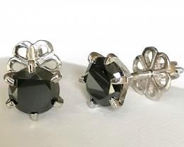 Black Diamond Earrings 2.60 TCW
