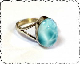 Lovely Natural Sky Blue Larimar .925 Sterling Silver Ring #7 ½
