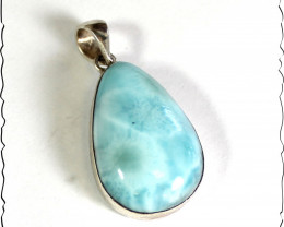 Lovely Natural Sky Blue Larimar .925 Sterling Silver Pendant 1.4inch