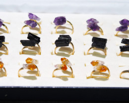 x15 Set Raw Citrine, Tourmaline & Amethyst Gold Plated Rings - BR 924