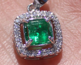 Swat Valley Emerald 1.01ct Solid 925 Sterling Silver White Gold Finish Pend