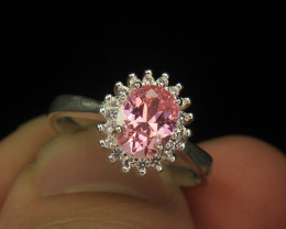 Wow Very Beautiful Pink & small White Color CZ Zirconia Fancy Ring.