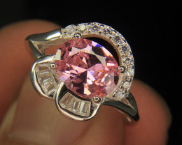 Wow Very Beautiful Pink & small White Color CZ Zirconia Fancy Ring