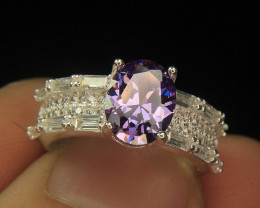 Wow Very Beautiful Purple & small White Color CZ Zirconia Fancy Ring For Gi