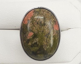 Natural Unakite Stone in Stailless Steel Ring