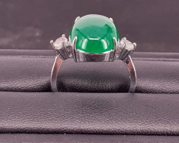 Natural Nice Color Green Agate Ring in Stainless Steel 23.92 Ct.