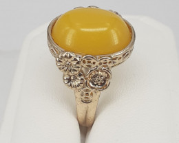 Amazzing Colore Amber 26.55 Ct. Ring  in Stainless Steel