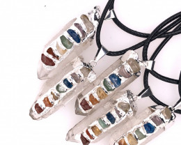 5 x Terminated Point Crystal 7 Chakra Pendant - BR 929