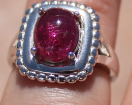 Rubellite 2.68ct Solid 925 Sterling Silver Rhodium Finish Solitaire Ring