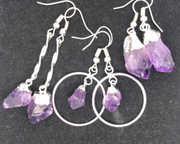 3 x Raw Beautiful Amethyst Earrings  BR 2237