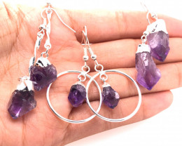 Terminated Point Amethyst Earrings