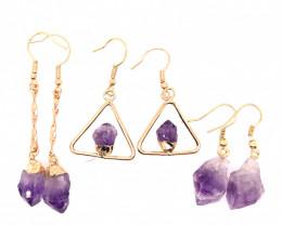 3 x Raw Beautiful Amethyst Earrings  BR 224