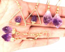 3 x Raw Beautiful Amethyst Earrings  BR 2245