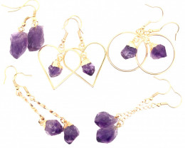 5 x Raw Beautiful Amethyst Earrings  BR 2249