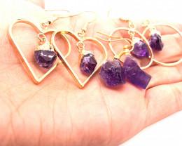 5 x Raw Beautiful Amethyst Earrings  BR 2250