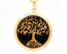 AUSTRALIAN GOLD NUGGET LEAVES & GOLD PLATED PENDANT [JP05]
