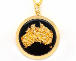 AUSTRALIAN GOLD NUGGET LEAVES & GOLD PLATED PENDANT [JP07]