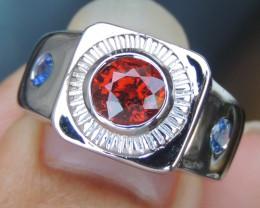 Spessartite Garnet, with Sapphire in Silver