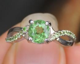 Mint Tourmaline / Tsavorite Ring