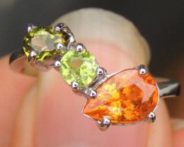 Spessartite, Peridot and Chrome Diopside Silver Ring