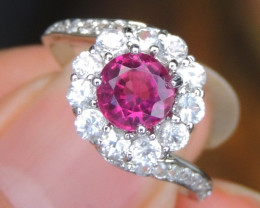 Rubelite, with Sapphire in Silver