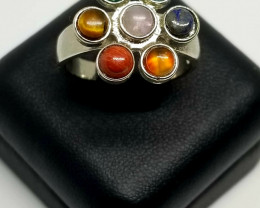 Chakra Seven Multi Color Stones Stainless Steel Free Size Ring