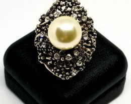 Fresh Water Pearl Stainless Steel Ring With Cubic Zirconia