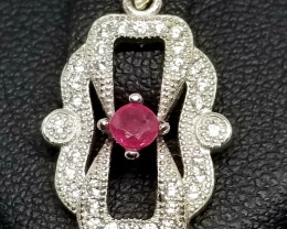 Natural Burma Heated Ruby Silver Pendant With Cubic Zirconia
