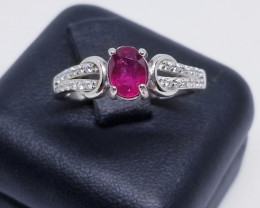 Natural Rubellite Silver Ring With Cubic Zirconia