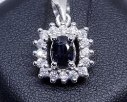 Narural Blue Mogok Spinel Silver Pendant With Cubic Zirconia