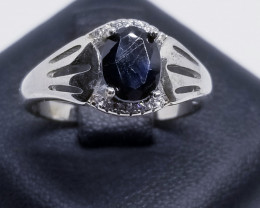 Natural Heated Sapphire With Cubic Zirconia Silver Ring
