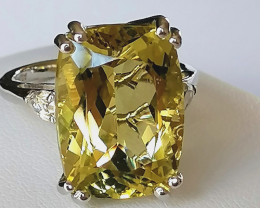 Ouro Verde Quartz and White Topaz Ring 14.25 TCW