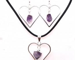 Raw Beautiful Love Heart Amethyst Earrings  n  Pendant BR 228