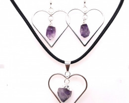 Raw Beautiful Love Heart Amethyst Earrings  n  Pendant BR 2288
