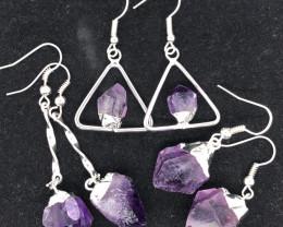 Three Designs Raw  Amethyst Earrings BR 2292