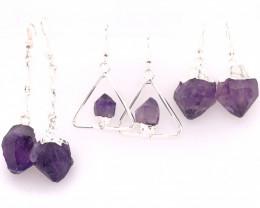 Three Designs Raw  Amethyst Earrings BR 2293