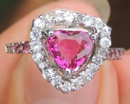 Rubelite, with Sapphire and Tourmaline in Silver