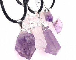 5 Pc Amethyst Crystal lovers pendants   ,  BR 2298