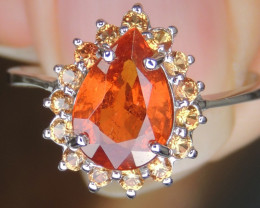 2.10cts, Mandarin Spessartite, with Sapphire in Silver