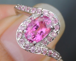 1.23cts, Rubelite, with Sapphire in Silver