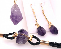 Amethyst Lovers Three Piece Jewelry Set - BR 1004