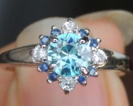 Cambodian Blue Zircon w/ Sapphire Ring