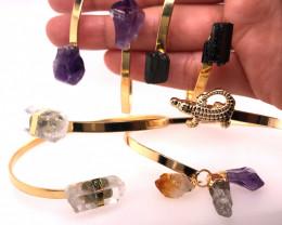 3 x Raw Citrine, Amethyst & Tourmaline Gemstones Bracelet - BR 1018