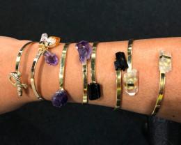 3 x Raw Citrine, Amethyst & Tourmaline Gemstones Bracelet - BR 1019
