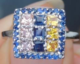Sapphire and Fanta Spessartite Ring