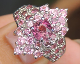 Tourmaline with Sapphire Silver Ring