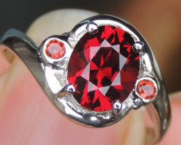 Master Cut Red Rhodolite in Silver
