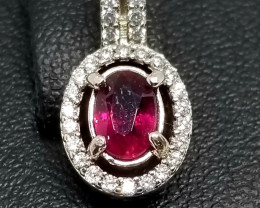 Natural Rubellite Silver Pendant With Cubic Zirconia