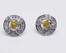 Natural Yellow Sapphire Silver Earrings With Cubic Zirconia