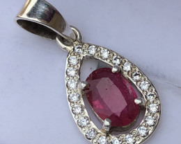 Natural Rubelite Tourmaline with Zircon Hand Made 925 Silver Necklace